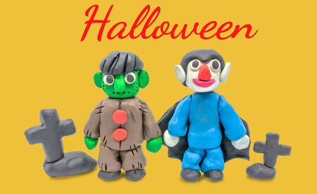 Play dough Dracula and Monster halloween on white background
