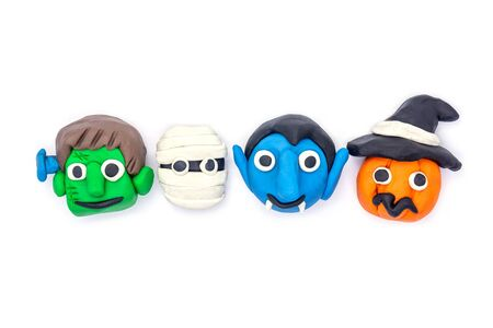 Play dough Dracula and Pumpkin and Mummy Monster halloween on white background Zdjęcie Seryjne