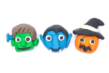 Play dough Dracula and Pumpkin and Monster halloween on white background Zdjęcie Seryjne