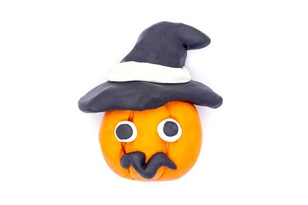 Play dough Pumpkin halloween on white background Archivio Fotografico - 132224280