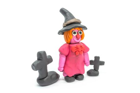 Play dough Witch on white background 写真素材