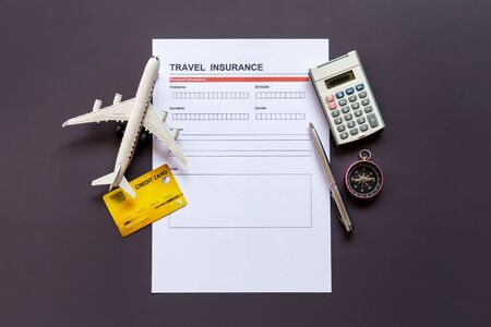 Travel  insurance form with model and policy document