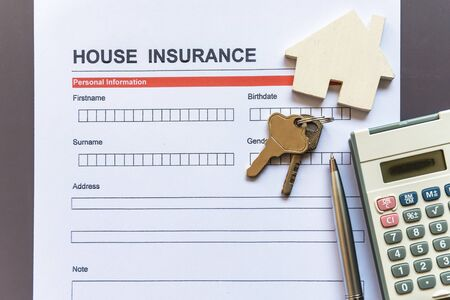 House insurance form with model and policy document Stock fotó