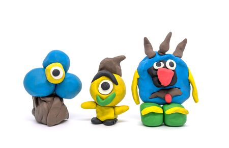 Play dough group monsters on white background