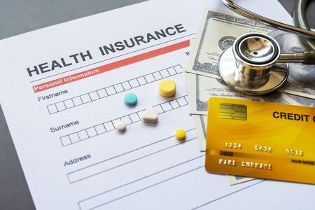 Health insurance form with model and policy document