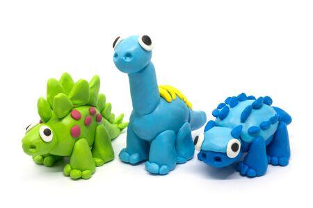 Play group Stegosaurus, Brachiosaurus, Ankylosaurus on white background Standard-Bild