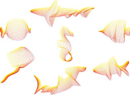 Group of Sea Life consist of Fish, Sea Horse, Shark, Rayfish