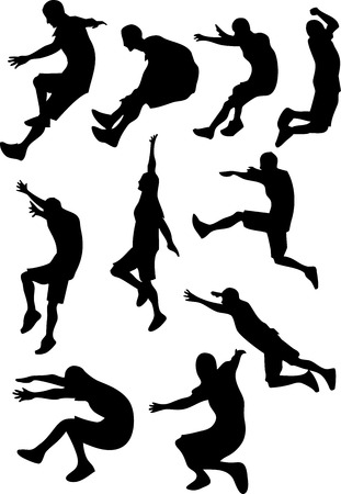 flying man: A Different style of man jumping and doing sport Illustration