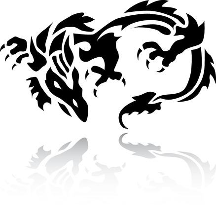 A very nice tribal Chinese Dragon tattoo Vector