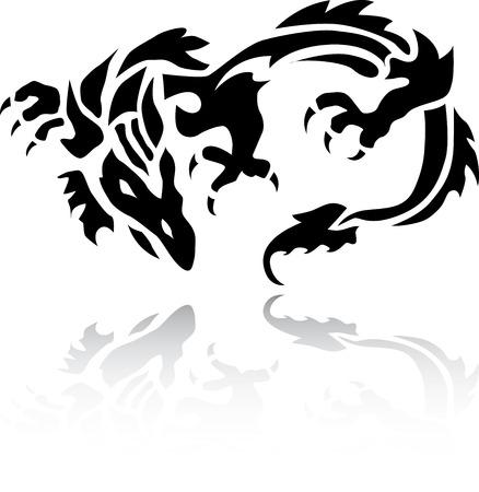 A very nice tribal Chinese Dragon tattoo