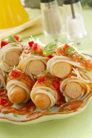 Sausage Spaghetti Stock Photo