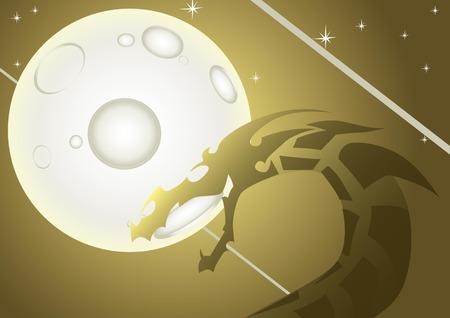 Dragon over the moon