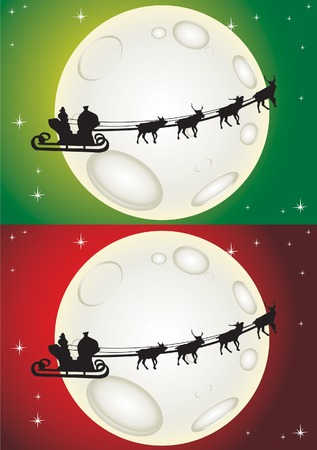 Santa Claus riding the deer over the moon