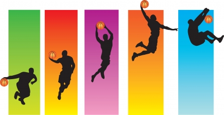 sequence: Basketball Slam Dunk Illustration