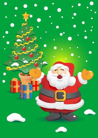 Santa Claus on Snowfall Stock Vector - 4009276