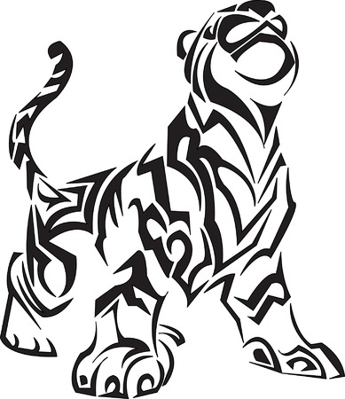 Tribal Tiger Tattoo Vector