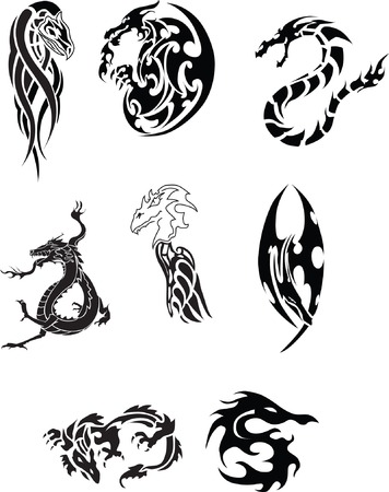 Collection of Dragon Tattoo Vector