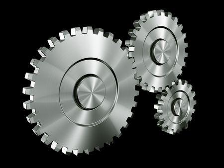 3d rendering of 3 gears photo