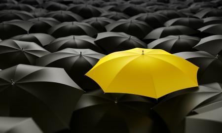 lluvia paraguas: 3d prestaci�n de un mar de paraguas