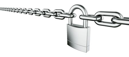 padlocked: 3d rendering of a padlocked chain Stock Photo