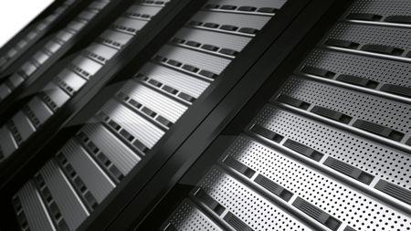 3d rendering of multiple rack servers