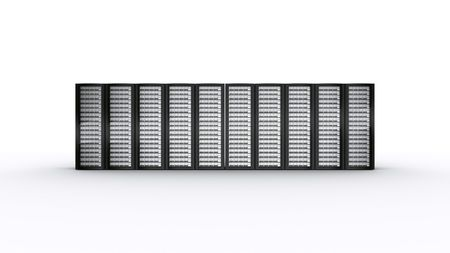 3d rendering of multiple rack servers on white background. photo