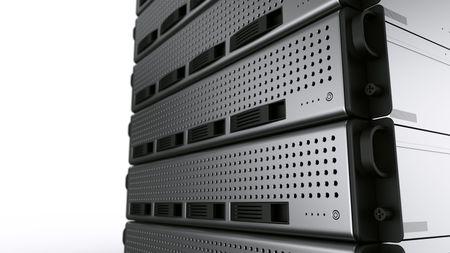 3d rendering of multiple rack servers on white background.