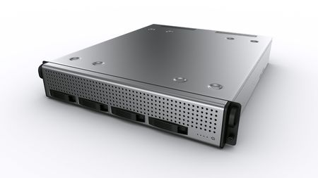 3d rendering a rack server on white background. photo