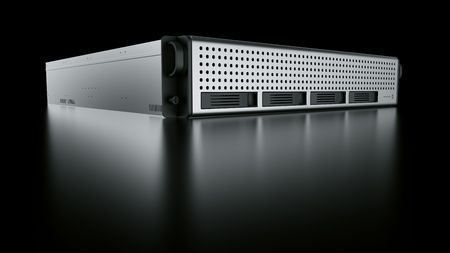 3d rendering of a rack server on black reflective ground.
