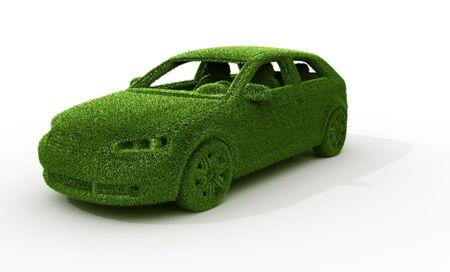 3d rendering of a green grass car