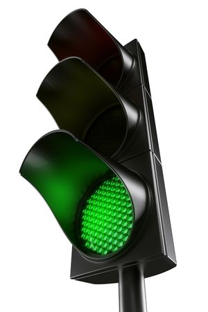 green cross: 3d rendering traffic light Stock Photo
