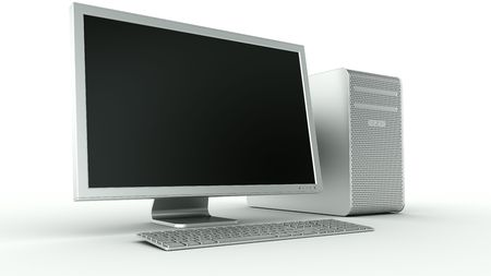 3d rendering of a stylish computer in aluminum  photo