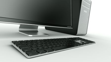 3d rendering of a stylish computer in black plastic