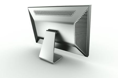 3d rendering of an aluminum monitor on white background photo