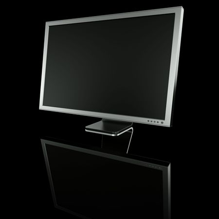 3d rendering of an aluminum monitor on black reflective ground Stock Photo - 3279272