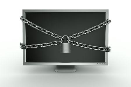 lock  futuristic: Rendering 3D di un monit con una catena intorno ad esso.