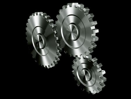 3d rendering of 3 gears Stock Photo - 3279378