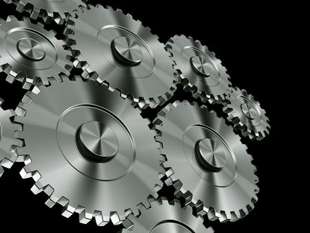 3d rendering of many connected gears Stock Photo - 3279392