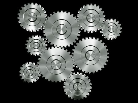 3d rendering of many connected gears Stock Photo - 3279390