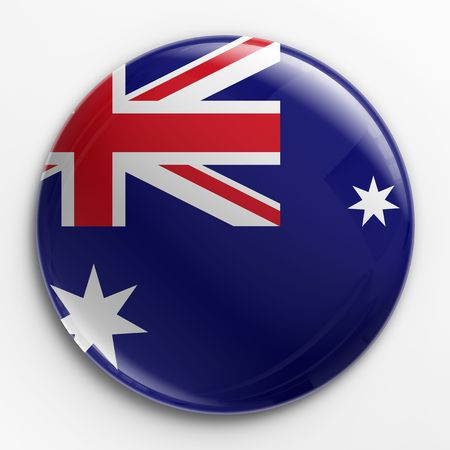 australian: 3d rendering of a badge with the Australian flag