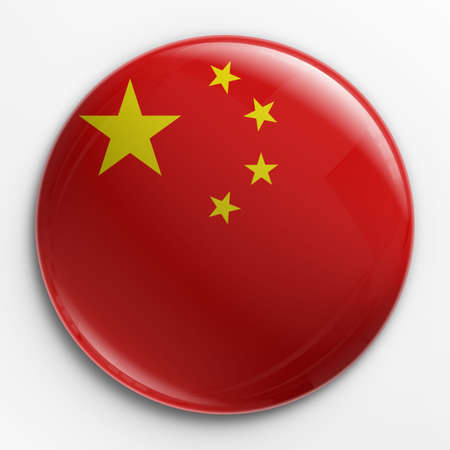 chinese flag: 3d rendering of a badge with the Chinese  flag