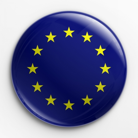 european union: 3d rendering of a badge with the  flag of Europe