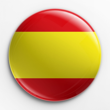 spanish flag: 3d rendering of a badge with the Spanish flag