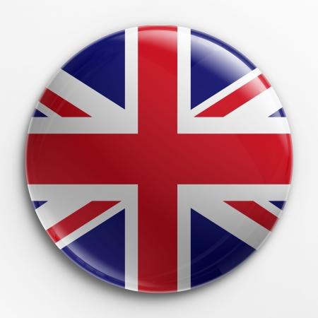 bandera inglesa: Renderizado 3D de una insignia con la bandera del Reino Unido  Foto de archivo