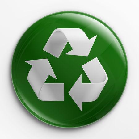 logo reciclaje: Renderizado 3D de una identificaci�n con un logo de reciclaje  Foto de archivo
