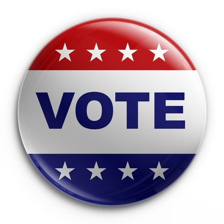and encourage: 3d rendering of a badge to encourage voting
