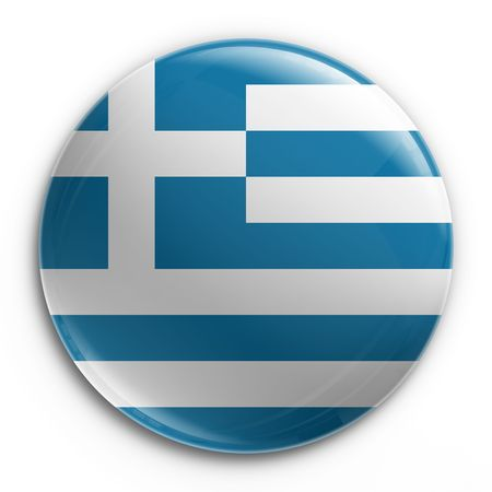 3d rendering of a badge with the Greek flag Stock Photo