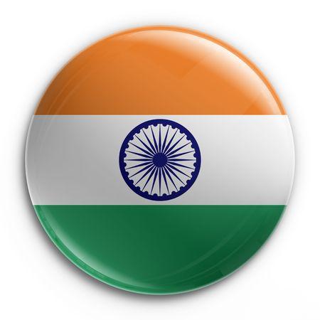 drapeau inde: Rendu 3D d'un badge portant le drapeau indien  Banque d'images