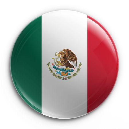 drapeau mexicain: Rendu 3D d'un badge avec le drapeau mexicain  Banque d'images