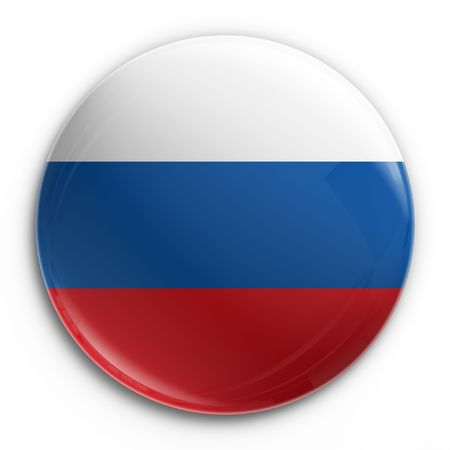 russian blue: 3d rendering of a badge with the Russian flag Stock Photo